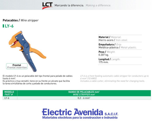 pinza pelacables frontal 0,2 - 6 mm ly-6 lct electricavenida