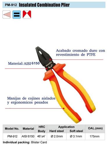 pinza universal electricista aislación 1000v  proskit pm-912