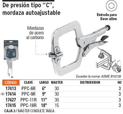 pinzas presion t. 'c' 11' mordaza autoajustable truper 17427