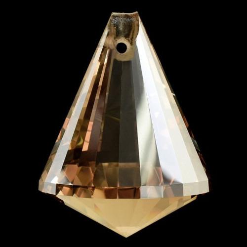 pião de cristal lapidado 40mm 5 peças cor champagne honey