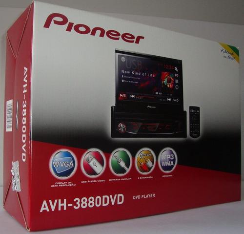 pioneer dvd retrátil automotivo avh-3880dvd usb rádio mp3