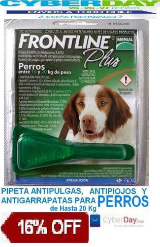 pipeta anti pulga piojo garrapatas frontline perro 20 kg