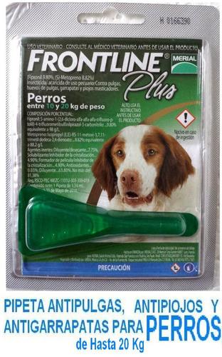 pipeta antipulga frontline perro 10 kg y pipeta hasta 20 kg
