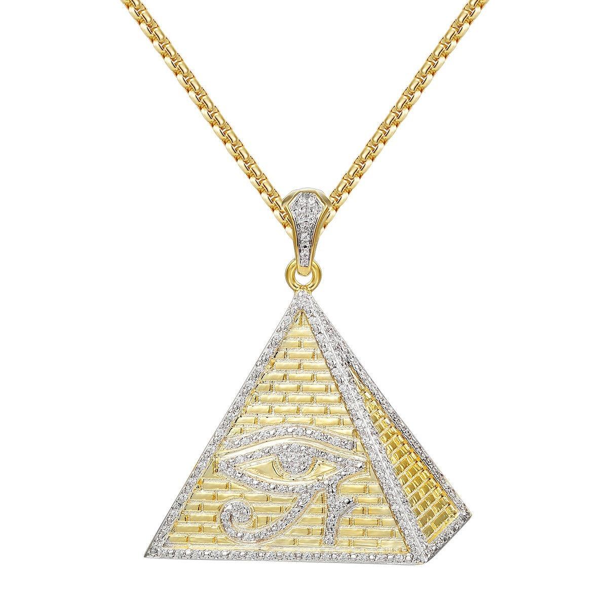 5b8c6f0aeefd Piramide Con Cadena De Caja Diamantada Chapado En Oro De 14k