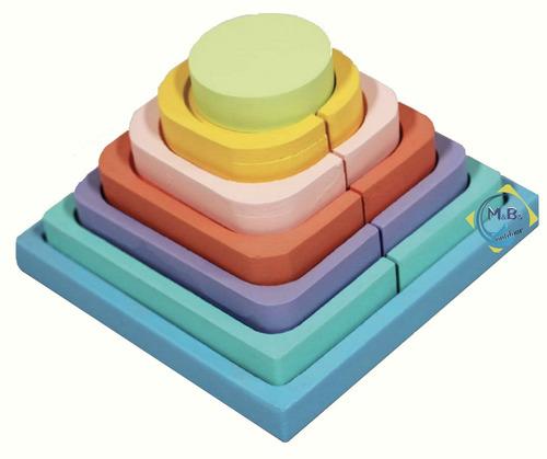 piramide de encastre bloques colores madera didactico niños