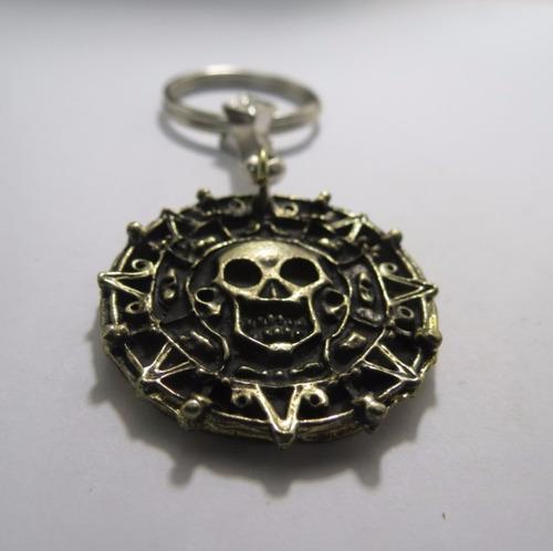 piratas del caribe moneda azteca metálica colgante o llavero