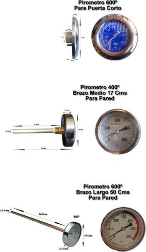 pirometro termometro horno de barro 600º bulbo largo 50  cms