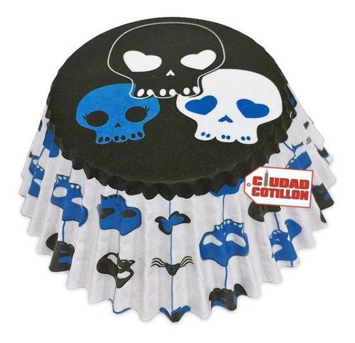 pirotines n°10 halloween calavera cupcakes muffins x 15 - cc