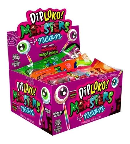 pirulito dip loko neon monster - brilha no escuro - 30 und