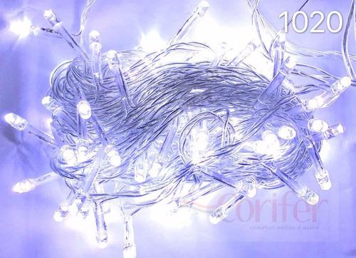 pisca 100 lâmpadas led fixo branco frio  c/ fio transparente