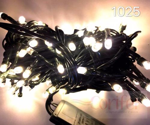 pisca 100 lâmpadas led fixo morno c/ fio verde