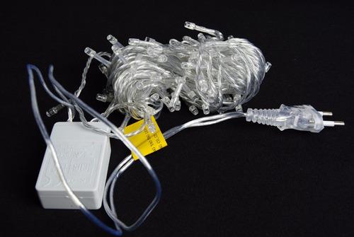pisca led natal branco 100led 220v 10mt 8funções fio transpa