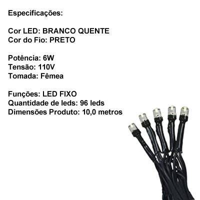 pisca pisca 100 led 110v fio preto 10m branco quente wf-0113