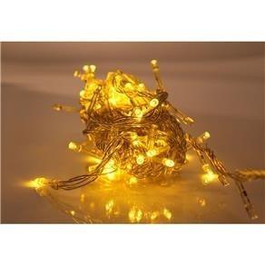 pisca-pisca natalino 100 lâmpadas led luz amarela 110v