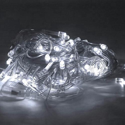 pisca-pisca natalino 100 lâmpadas led luz branca 220v
