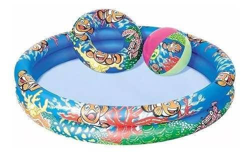 piscina 137lts + flotador + pelota para niños muebles web