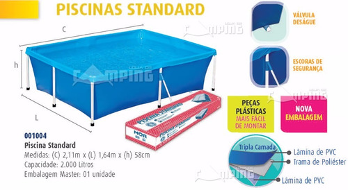piscina 2000 litros com pvc triplo reforçado estrutura aço