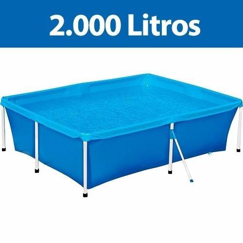 piscina 2000 litros mor - estrutura aço 211x164x58cm