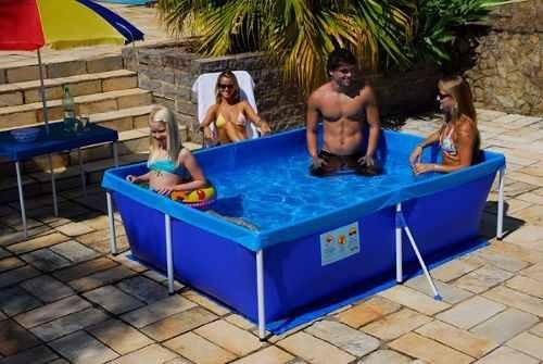 piscina 2000 litros retangular infantil azul pvc (001004)