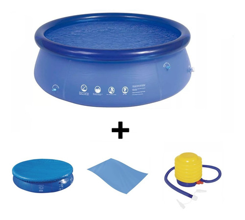 piscina 3400 litros redonda mor + forro + capa + inflador