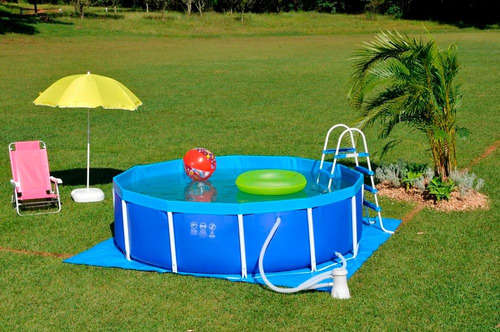 piscina 4500 litros circular em lona estruturada mor