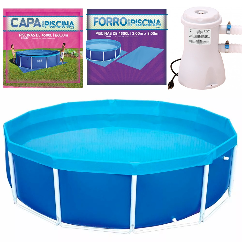 Piscina 4500 litros com capa forro e filtro mor r 999 for Piscina 6500 litros