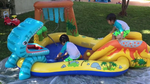 piscina c/ escorregador playcenter floresta inflável intex