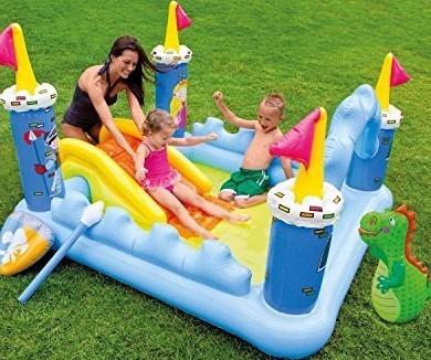 piscina castillo inflable resbaladera playa jardin niños
