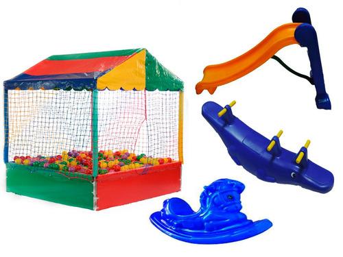 piscina de bolinhas 2mt + escorregador +gangorra e cavalinho