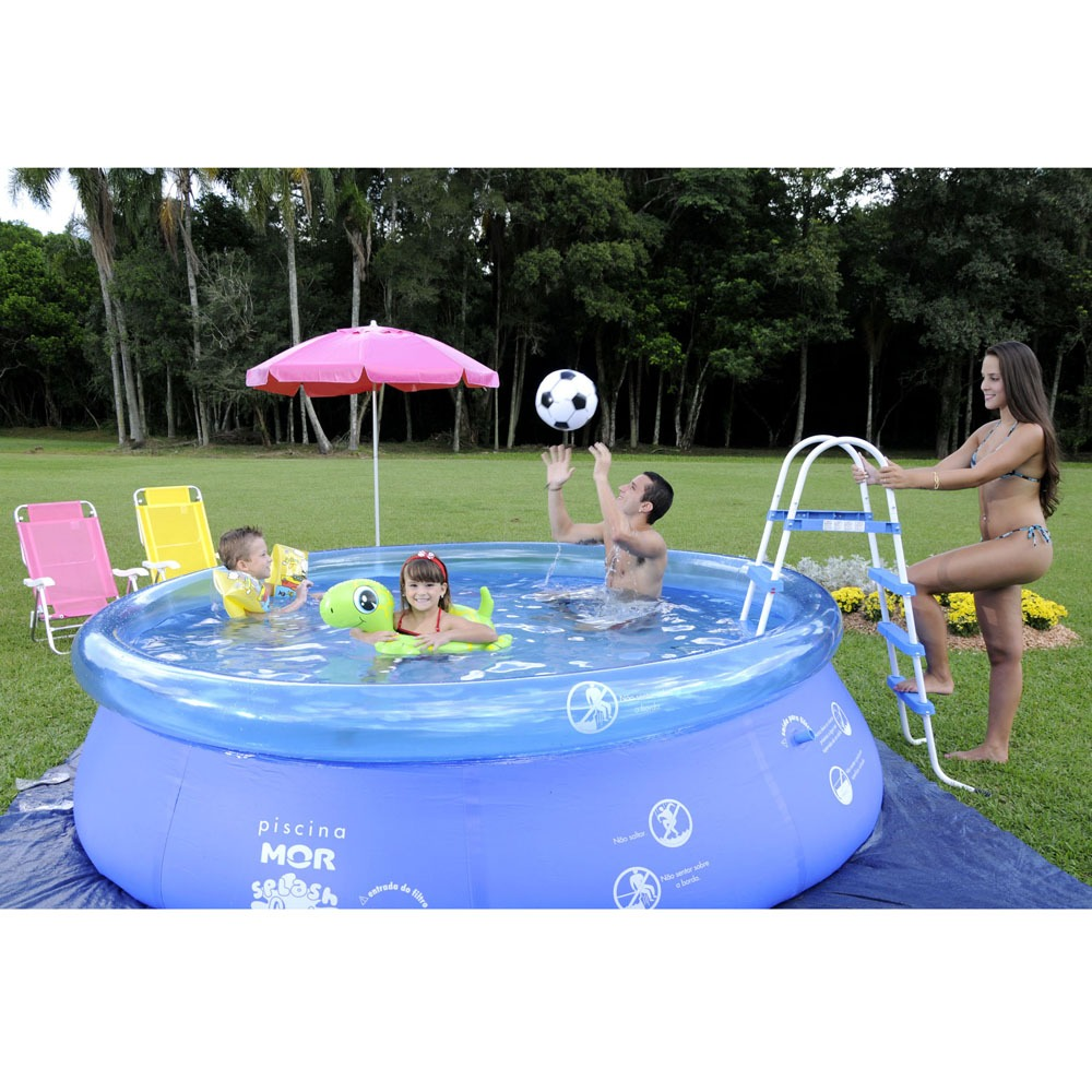 Piscina de plastico redonda grande infantil 4600 litros for Piscinas de plastico decathlon