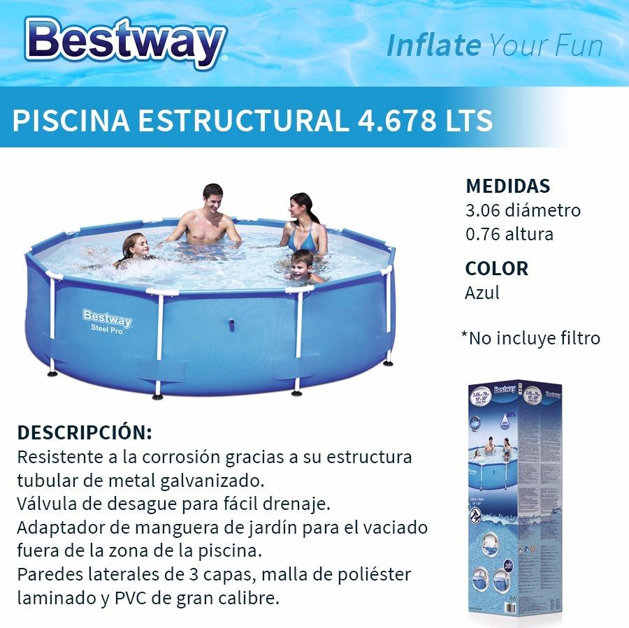 Piscina Estructural Redonda 4678 Lts Bestway - $ 2.690,00 en Mercado ...