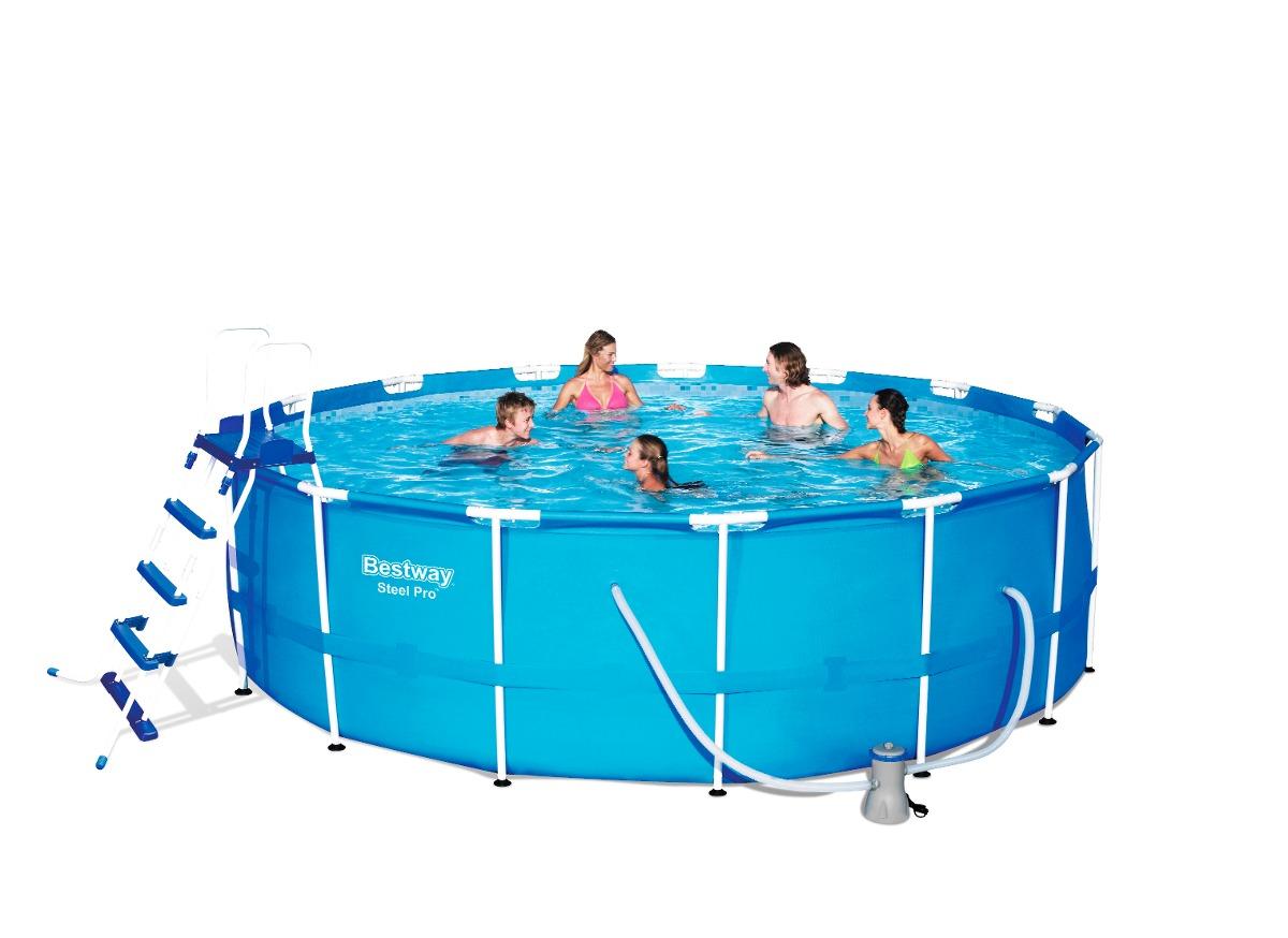 Piscina estructural redonda con filtro y escalera 56438 for Ofertas de piscinas estructurales