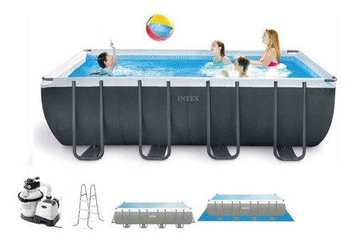 piscina estrutural retangular 17.203 litros completa - intex