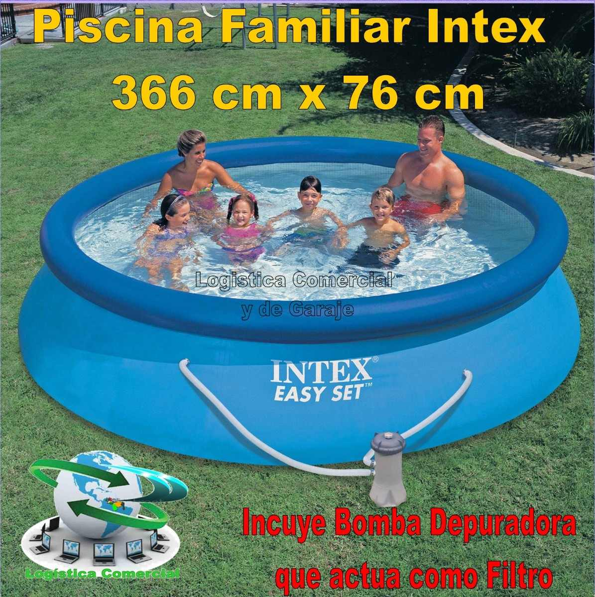 Piscina familiar inflable 366 x 76cm bomba filtrante for Piscina inflable intex