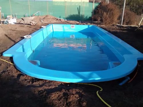 piscina fibra de vidrio  8,1 x 3,4 mts. instalada