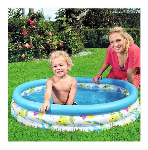 piscina infantil inflável 100 litros 3 anéis redonda bestway