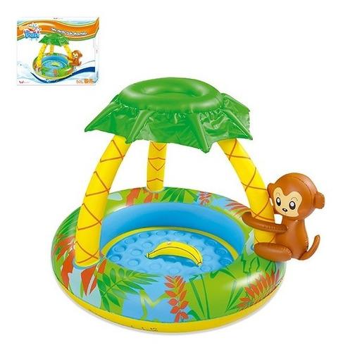 piscina infantil inflável 53 litros com cobertura macaquinho