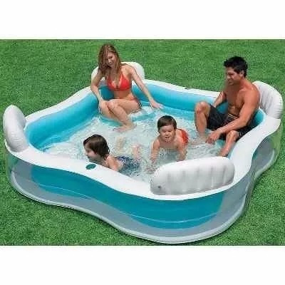 piscina infantil inflável intex quadrada com porta copos