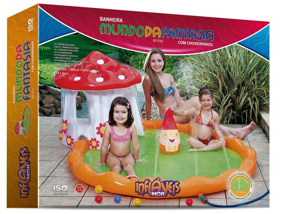 Piscina Infantil Mundo Da Fantasia C Chuveirinho 140 L Mor R 208