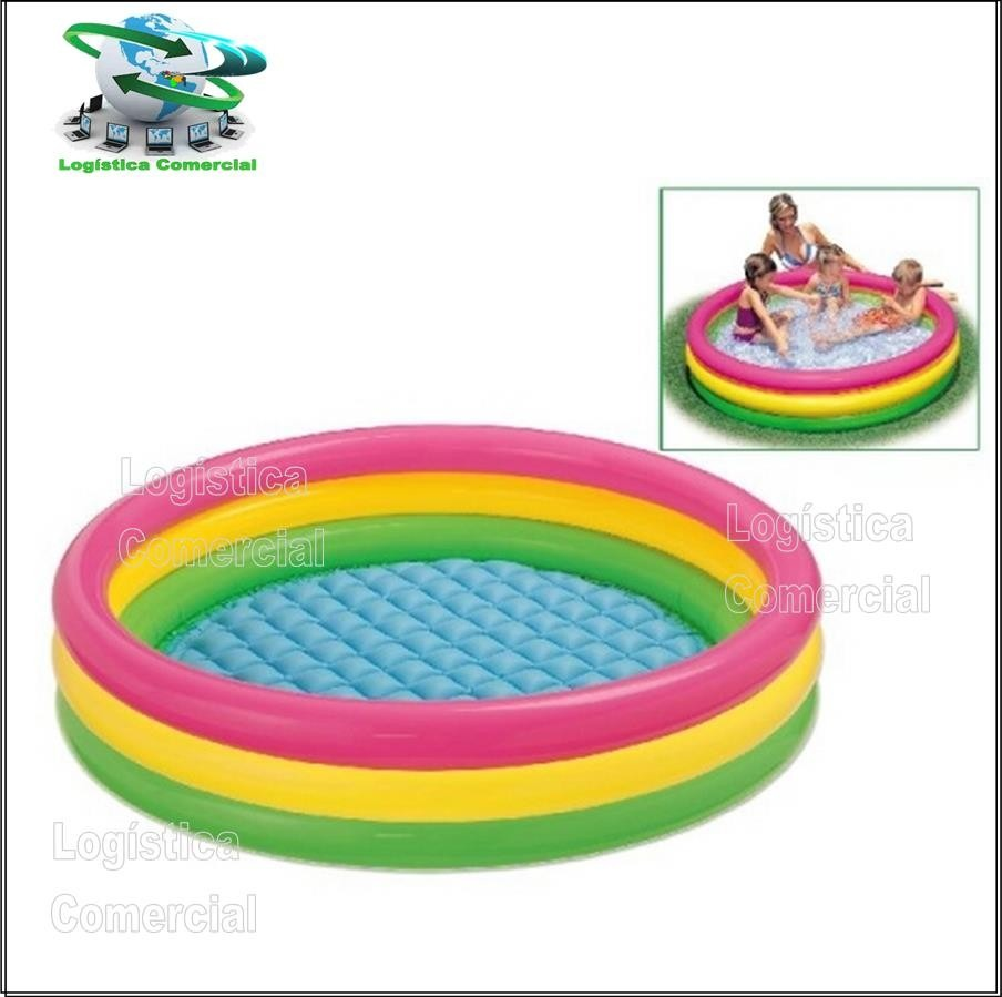 Piscina inflable 3 aros colores ni os intex 147x33 cm for Piscina inflable intex