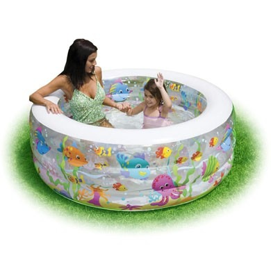 Piscina inflable acuario redonda piso acolchado 58480 for Piscina inflable intex
