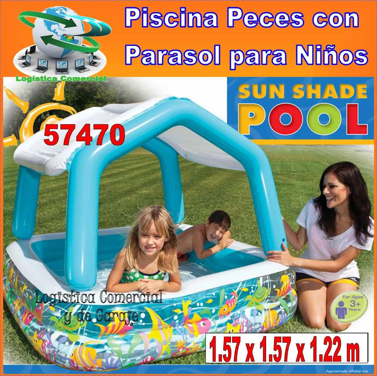 Piscina inflable acuario techo desmontable 157x157x122 for Piscina inflable ninos