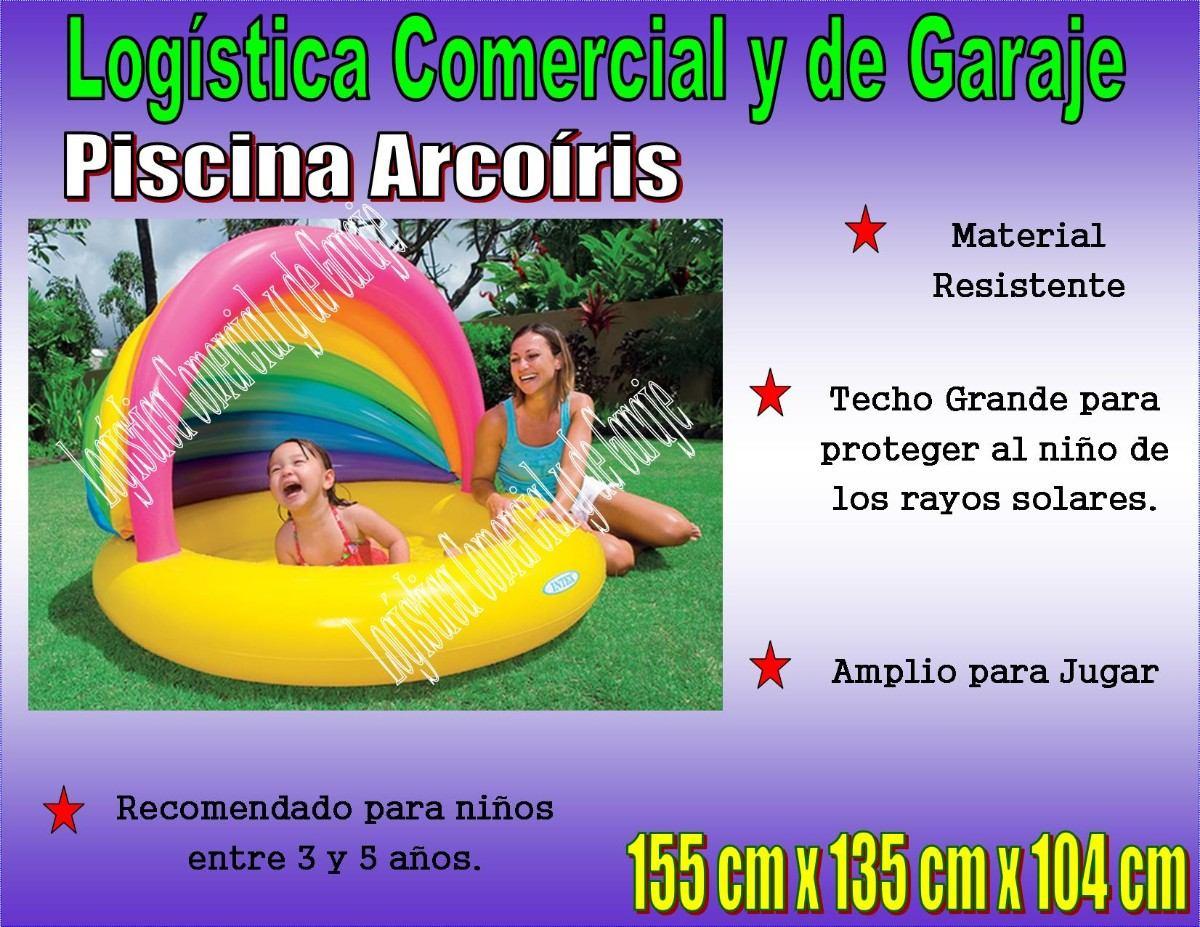Piscina inflable arcoiris con parasol 155x135x104 cm intex for Piscina inflable intex