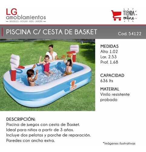 piscina inflable con aros de basket y pelotas para niños/as