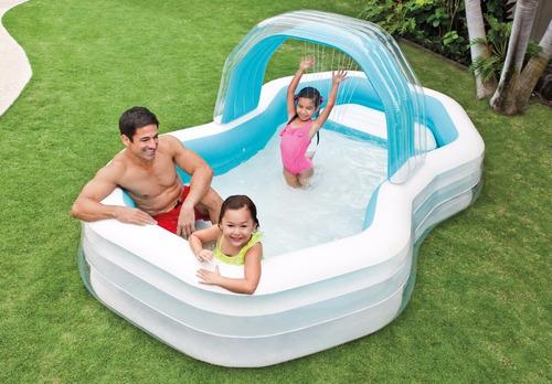 piscina inflable intex con cascada y sillas centro de juegos