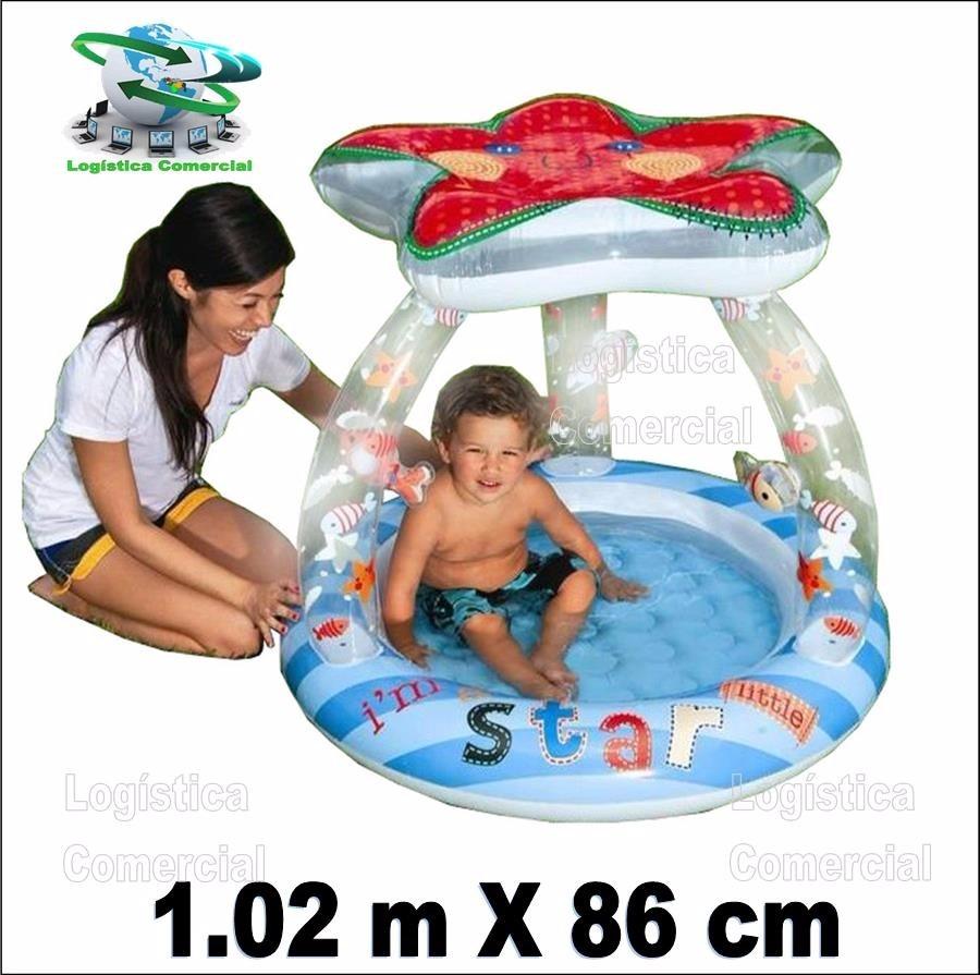 Piscina Inflable Para Bebe Estrella De Mar Con Parasol