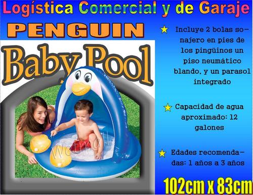 Piscina inflable pinguino con parasol techo para bebe for Piscina inflable intex para bebe