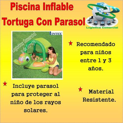 Piscina Inflable Tortuga Con Parasol Para Ni Os Intex