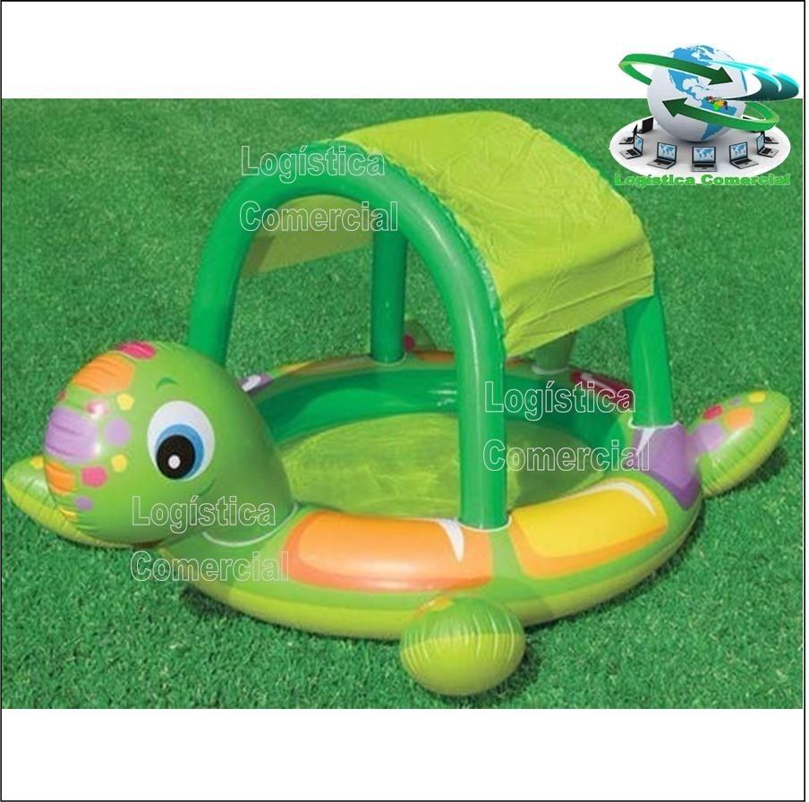 Piscina inflable tortuga con parasol para ni os intex for Piscina inflable intex