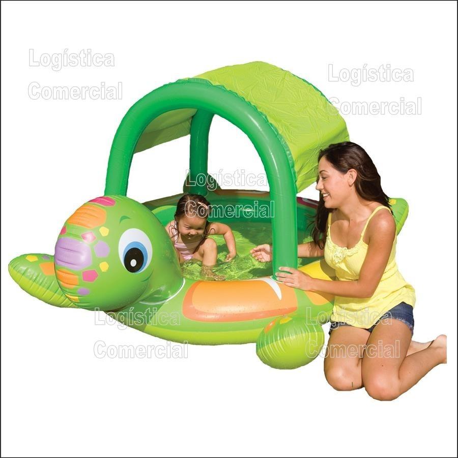Piscina inflable tortuga con parasol para ni os intex for Piscina inflable intex para bebe